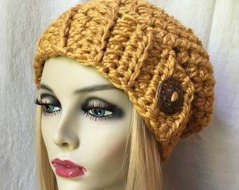 Crochet Womens Hat, Slouchy Beret, Honey, Gold, Soft Chunky Wool, Coconut Button, Gift for her, Winter, Ski Hat JE41BB1