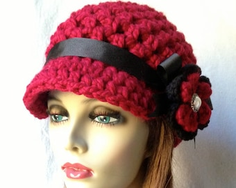 Crochet Womens Hat, Newsboy, Cranberry Red, Very Soft Chunky Wool, Flower, Ribbon, Warm, Teens, Winter, Ski Hat, JE806N7