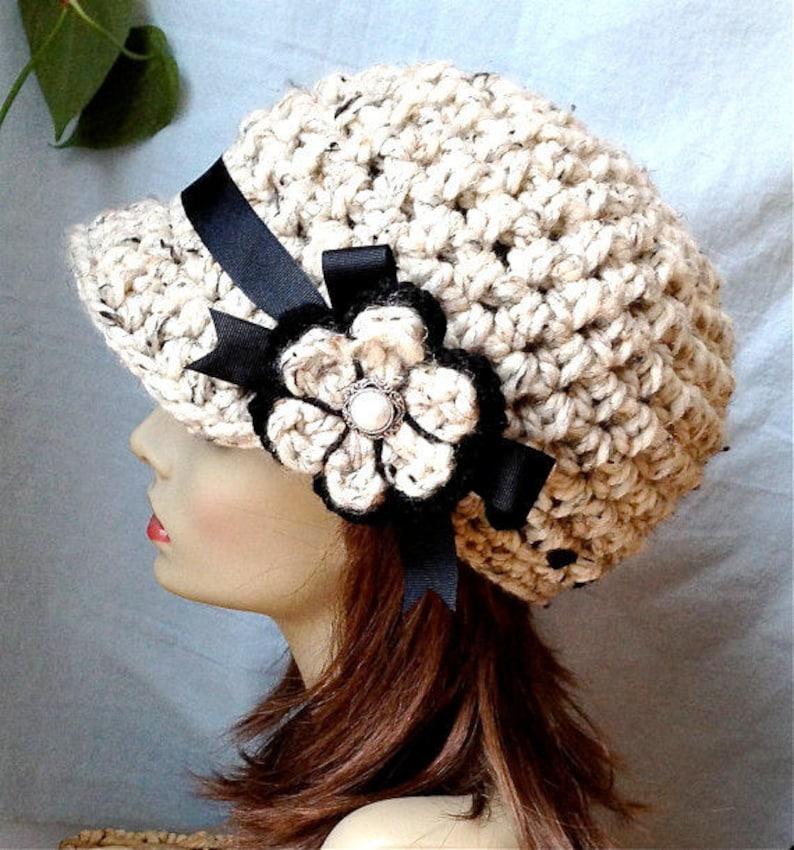 Ski Hat Warm Oatmeal Winter Brown Ribbon SALE Crochet Womens Hat Flower Very Soft Chunky Wool JE808N7 Teens Newsboy