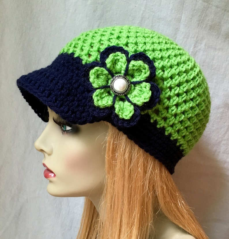 8ad129285733a1 Seattle Seahawks Lime Green Blue Womens Crochet Hat Sports   Etsy