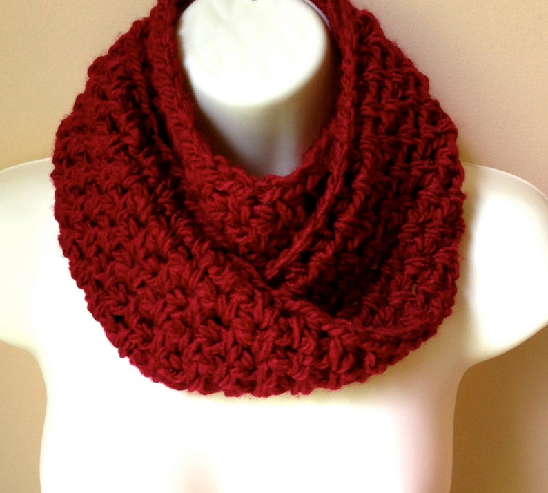 Sale Crochet Scarf Infinity Scarf Cowl Red Pick Color Etsy