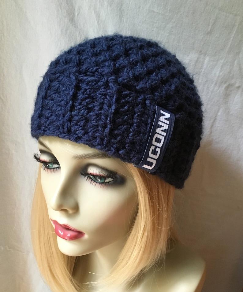302e459c771f2a UConn Husky Inspired Hat Blue White Sports Team Crochet   Etsy
