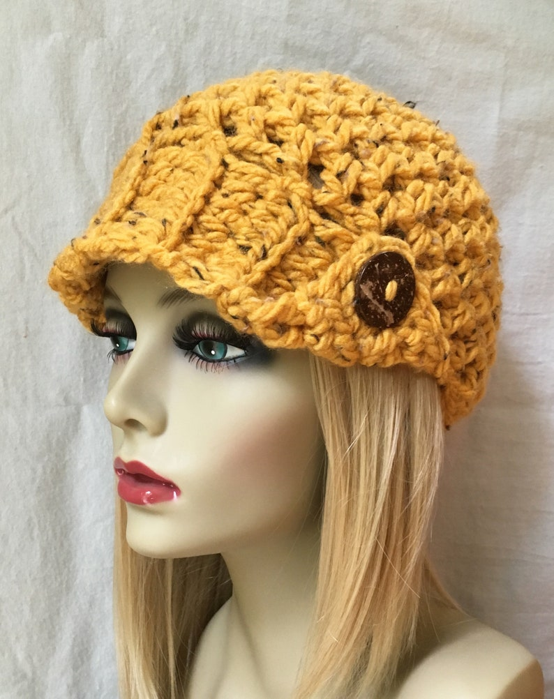 Womens Hat Beanie Honey Yellow Specks Brim Chunky  1a0160f65619