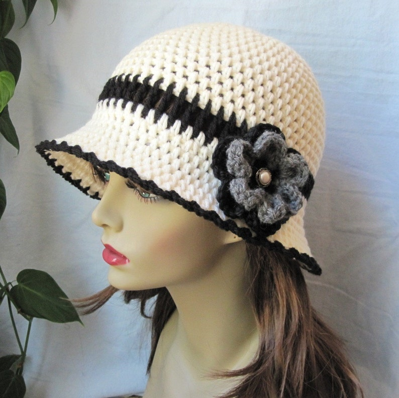 Womens Hat Ivory Tea hat Brim Weddings Cowboy Hat Cream Church Off White and Black Cloche JE278CFCALL Grey Button Flower Chemo