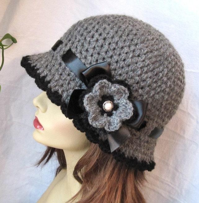 Damen Hut Kohle Grau häkeln Cloche Band Blume Krempe Frau | Etsy