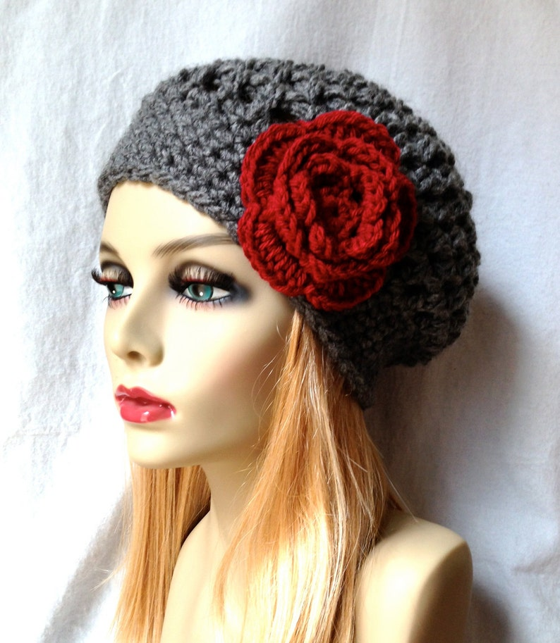 a45f087bdc4 Charcoal Grey Womens Hat Slouchy Beret Ohio Buckeye Red