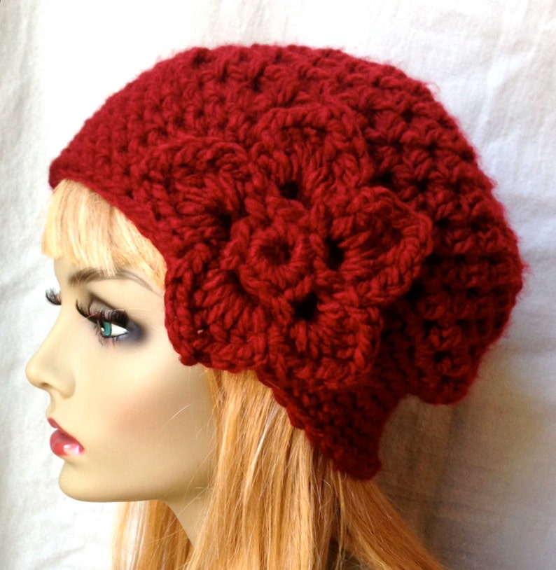 Warm Crochet Beret Teens JE467BTF4 Chunky Flower Birthday Gifts Red Womens Hat City Hat Gifts for Her Pick Your Color