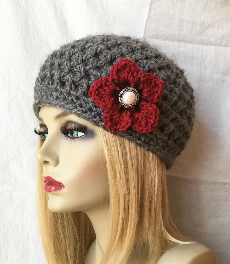 2cd617aea1f Crochet hat Charcoal Grey Womens Hat French Beret Beanie