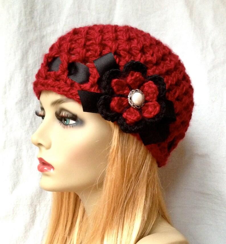 Cappello Uncinetto Donna Cappello Beanie Rosso Molto Etsy