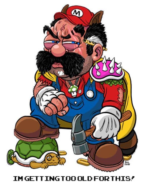 Super Mario Birthday Card Pdf Etsy