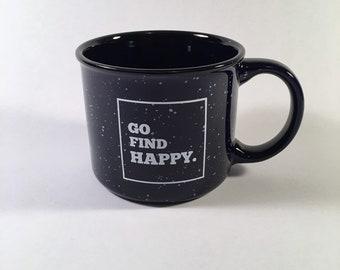 Go Find Happy 13oz Logo Mug - Speckled Cobalt Blue