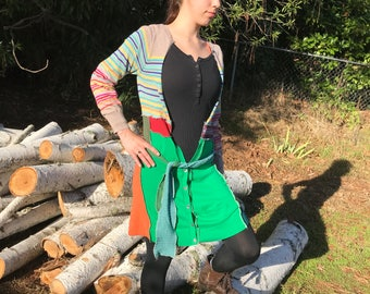 Re Purposed Re Cycled Re Made Sweater Coat Duster Wool Cotton Belt Long Sleeved Striped Greens Patchwork