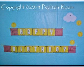 Print-INK Super Mario Bros. A La Carte 'Happy Birthday' Banner - DIY Digital Printable PDF