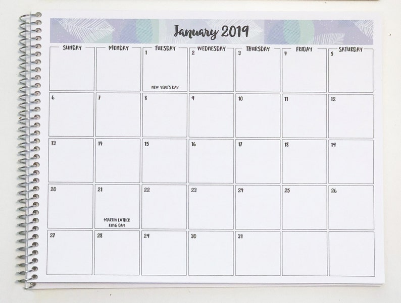 2019 Monthly Desk Calendar 8 5x11 30 Banner Designs Etsy