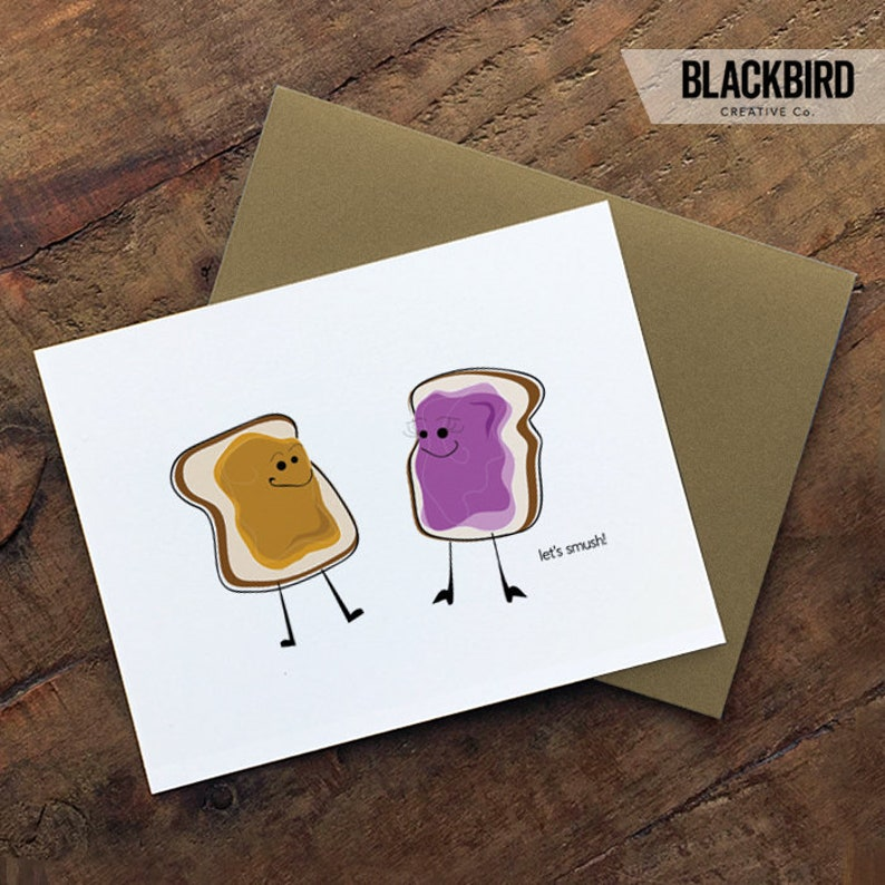 food pun card / peanut butter and jelly smush / sex card / image 0