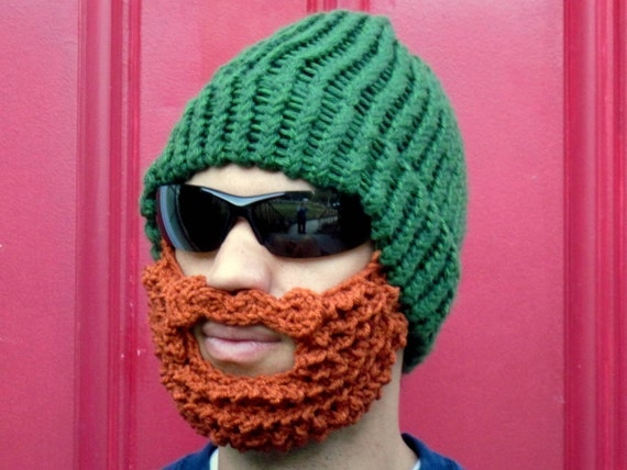 e0728bb0d8f bearded lumberjack hat green crochet beard hat The Original