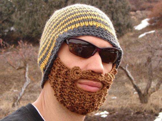 häkeln Sie Bart Hut Bart Mütze häkeln Mens häkeln Bart Hut | Etsy