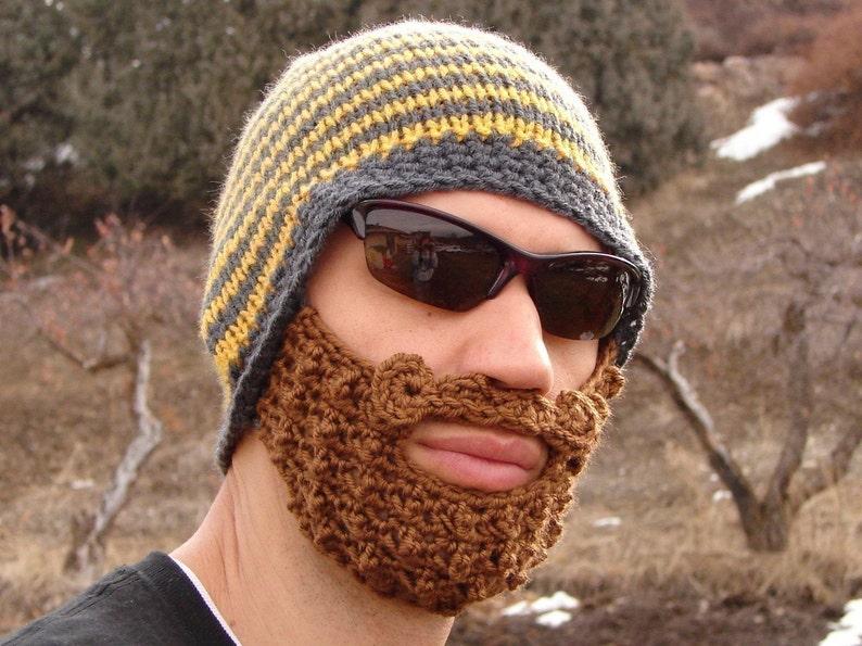 1e076488 crochet beard beanie, knit beard hat, mens beard cap The Original Beard  Beanie™ yellow and gray striped - L/XL bearded mustache hat