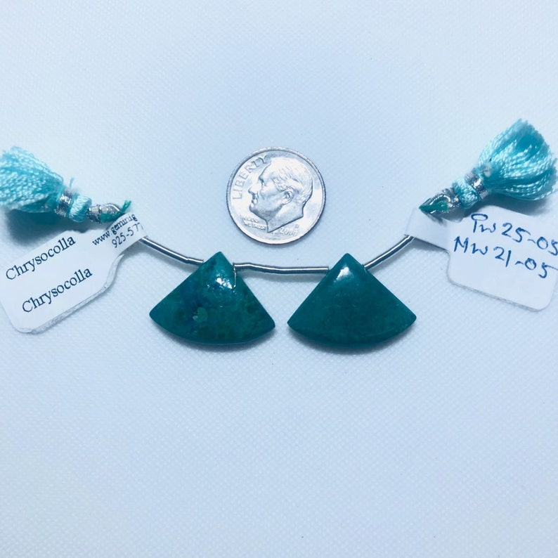 Chrysocolla Matched Drops 22x16 Fan Shape Gemstone Beads Pair To Make Earrings