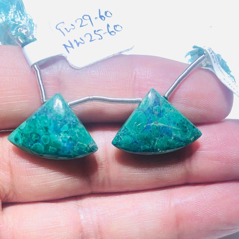 22x16 Fan Shape Gemstone Beads Pair To Make Earrings Chrysocolla Matched Drops