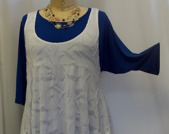 a34c431dfaa Coco and Juan, Plus Size Top, Lagenlook Tunic, Layering, Plus Size Tunic Top,  White Textured Knit, Boho Top Size 1, Fits 1X,2X Bust to 50