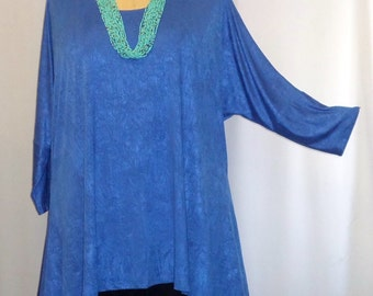399ee6c02afd7 Womens Plus Size Top Coco and Juan Lagenlook Plus Size Electric Blue Poly  Knit Drape Sides Tunic Top One Size Bust to 60 inches. COCOandJUAN Sold