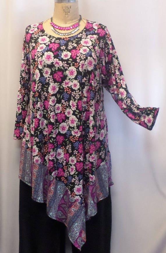 977eedabcc3 Coco and Juan Plus Size Tunic Top Lagenlook Pink Blue | Etsy