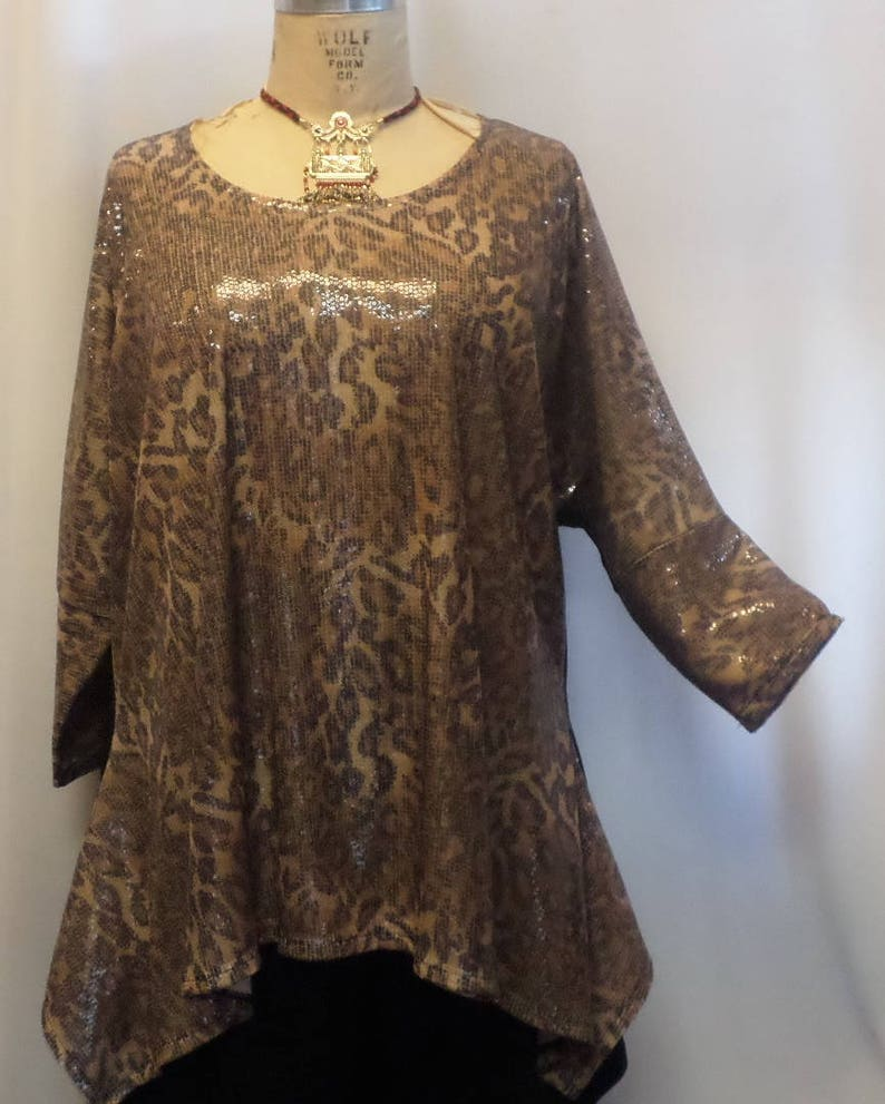 6269cca335 Plus Size Top, Coco and Juan, Lagenlook, Plus Size Tunic, Leopard ,  Sequins, Drape Tunic Top, Women's Tunic, One Size, 1X,2X,3X Bust to 60
