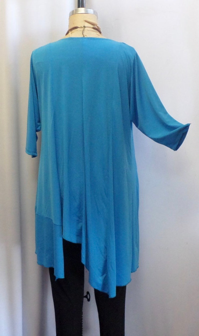 Plus Size Top Asymmetric Top Bust 50 inches Turquoise Blue Traveler Knit Size 1 Coco and Juan Plus Size Tunic fits 1X,2X Lagenlook