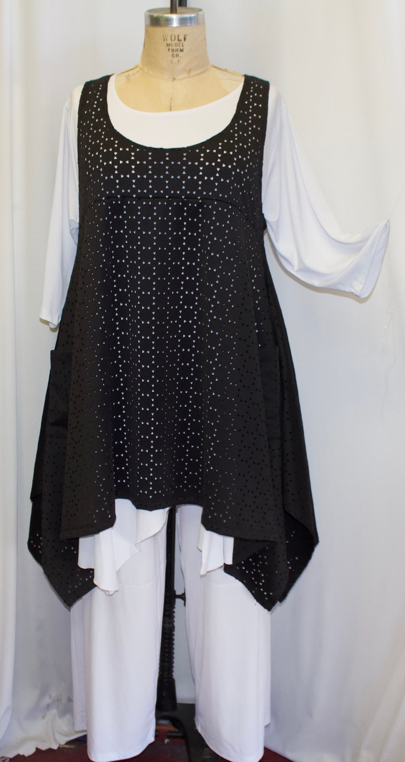 Plus Size Tunic Top Black Cutwork Knit Fits 1X,2X  Bust to 50 Lagenlook Tunic Plus Size Top Boho Top Size 1 Coco and Juan Layering