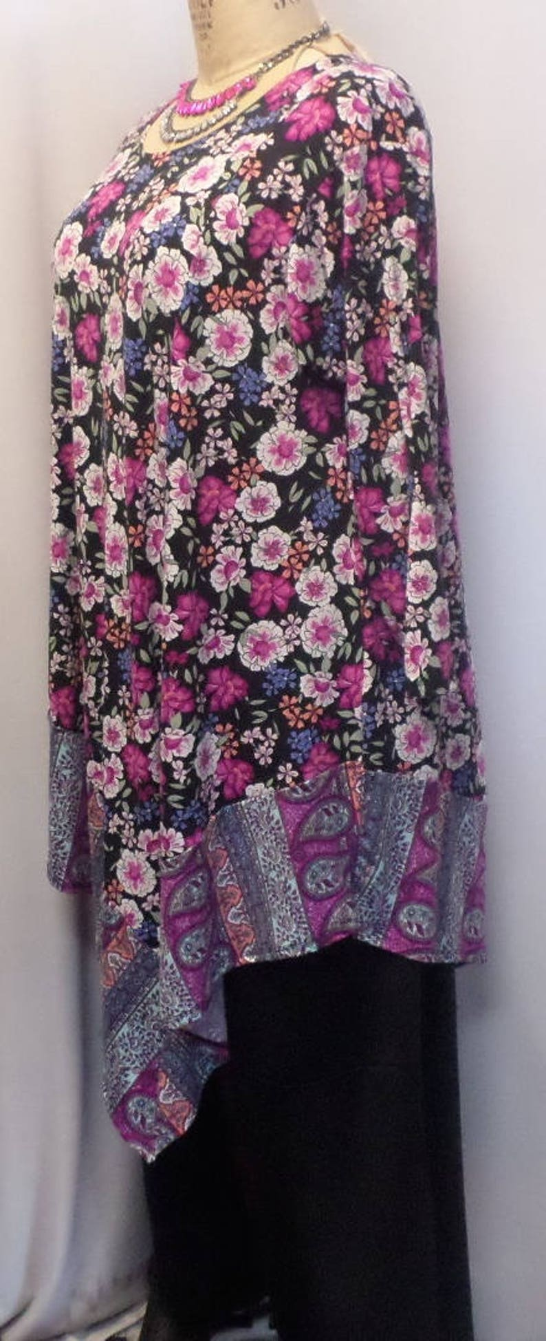 Coco and Juan fits 1X,2X Black Lagenlook Blue Women\u2019s Top Bust 50 inches Size 1 Plus Size Tunic Top Pink Floral Angel Tunic Top