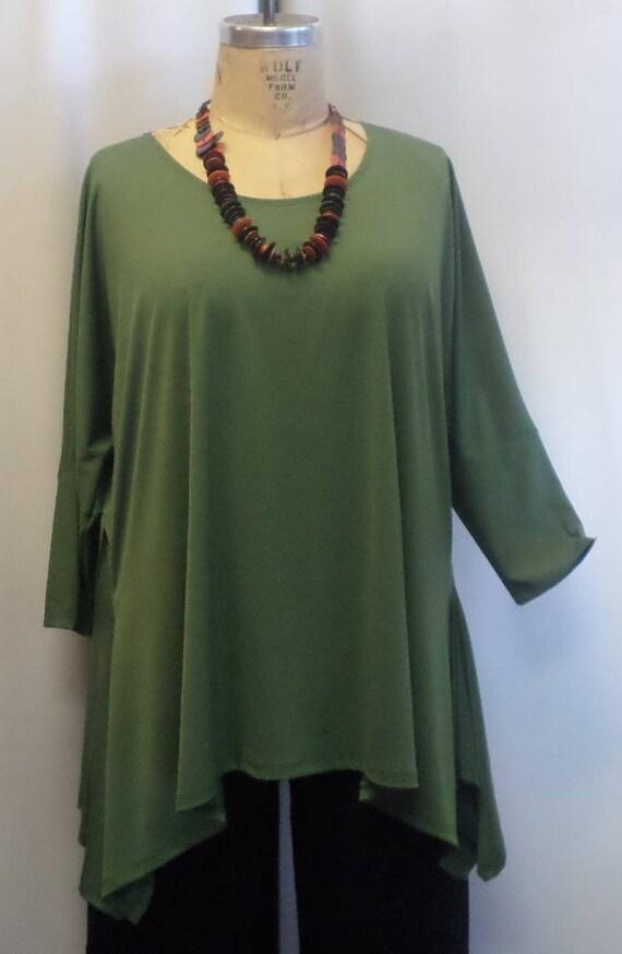 "Coco /& Juan Lagenlook Plus Size Olive Traveler Knit Asymmetric Top 3X 4X B 60/"""