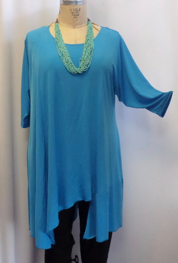 Lagenlook Turquoise Blue Traveler Knit Size 1 fits 1X,2X Bust 50 inches Asymmetric Top Plus Size Tunic Coco and Juan Plus Size Top