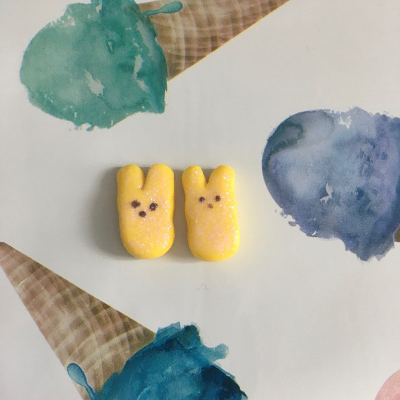 Yellow Marshmallow Bunny Studs
