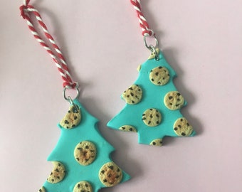 Chocolate chip cookie tree ornament