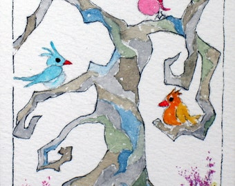 FREE SHIPPING and HALF Price Aceo Original watercolor Titled When Birds Sing