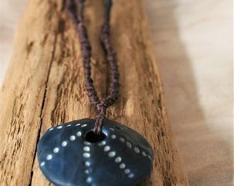 Sea Star Pendant Necklace, Artisan Porcelain Beads, Ceramic Jewelry