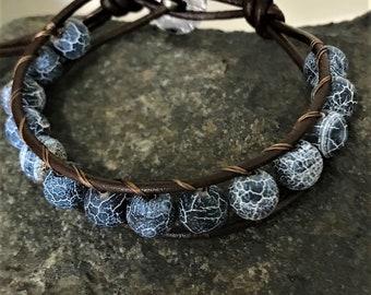 NOVA, Cairns Bracelet, wrap around leather beaded wrap bracelet, unisex jewelry, gift for men or women