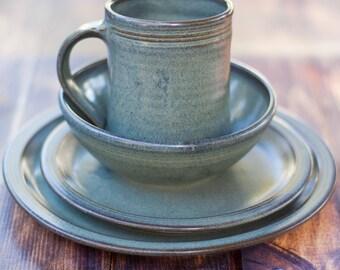 Incroyable Single Setting   4 Piece Pottery Dinnerware Set In Slate Ceramic Stoneware  Dishes   Stoneware Dinnerware Set