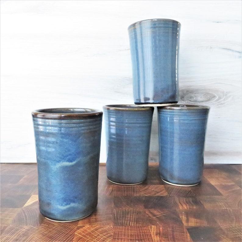 Large Handmade Stoneware pottery tumbler cups Ceramic Tumbler Cup Set of 4 Twilight Blue Ceramic Tumbler Drink Set