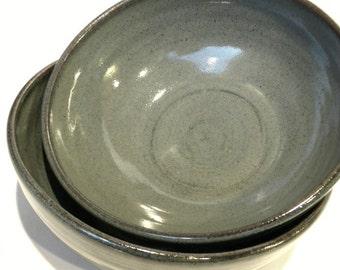 Soup Bowls - Set of 2  Slate ceramic pottery soup bowl - small bowl cereal stoneware handmade pottery - Slate glaze-cereal bowl