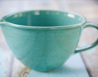 Handled Mixing Bowl in aqua blue with pouring spout-- hand thrown ceramic stoneware pottery -- ceramic mixing bowl handled mixing bowl