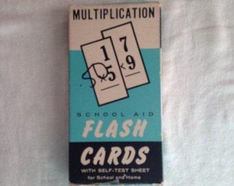 Vintage Multiplication flashcards / vintage school / vintage math / ephemera / scrap booking / set of 10