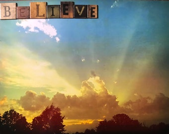 believe, inspirational photo, heaven photo, mixed media art
