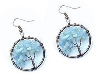 Aquamarine  Earrings ,  Aquamarine  Tree of Life  Earrings , Copper  Wire  Wrapped , Genuine  Aquamarine  Gemstones