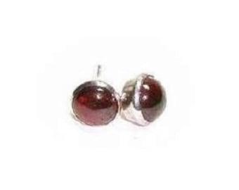 Sterling  Silver Genuine Garnet Post Earrings  ,   Gift For Her
