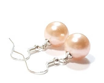 Peach  Pearl Earring , Sterling Silver Earrings ,  12MM  Peach  Shell Pearls , Gift For Her , Sterling Silver Ear Wires
