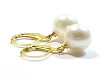 White Shell Pearl Earrings , Gift For her Jewelry , 10MM  Drop Pearls