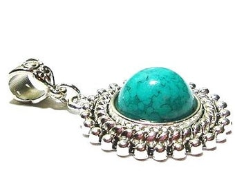 38MM  Sterling Silver Plated  Turquoise  Pendant