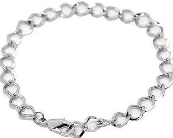 Silver Link Bracelet  ,  Pack Of 5  Chains , Chunky  Chain  Bracelet , 7.5 Inches ,  Silver Tone Chain